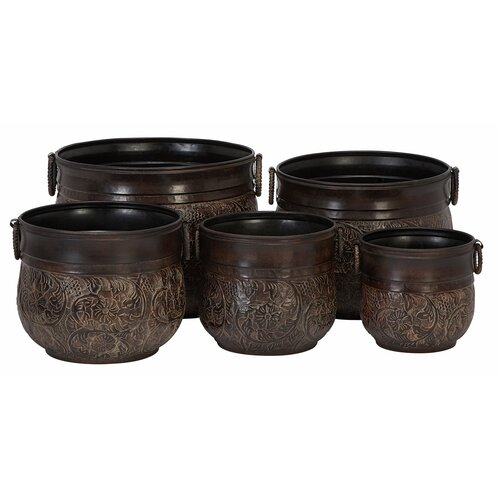 Aspire Round Metal Planters (5 Piece Set)
