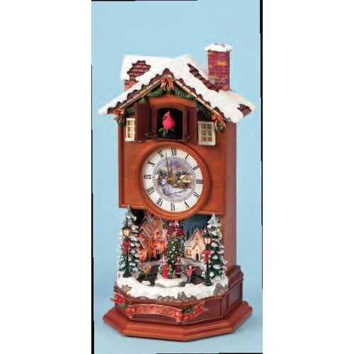 Roman, Inc. Lighted Cuckoo Clock with Winter Scene Figurine