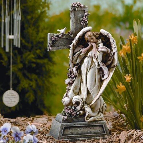 Roman, Inc. Garden Angel with Cross Statue