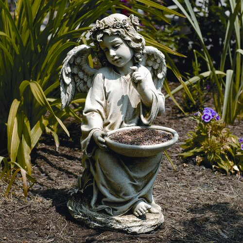 Roman, Inc. Sitting Angel Holding Decorative Bird Feeder