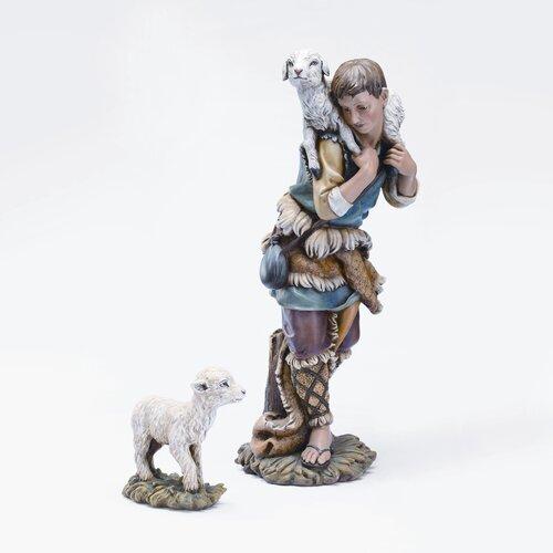 Roman, Inc. Two Piece Shepherd and Lamb Figurine Set