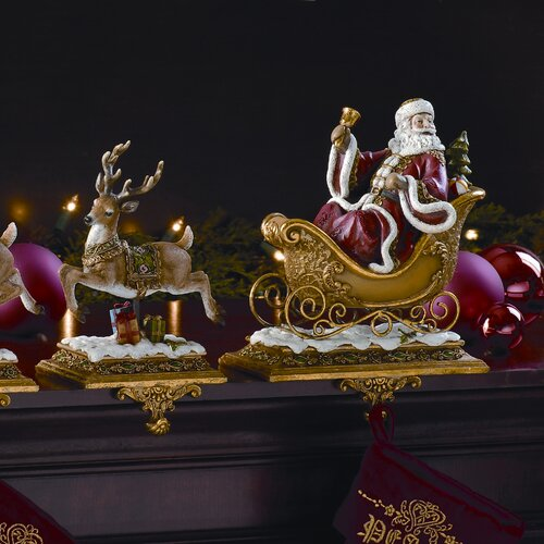 20 5 two piece santa with deer stocking holder set wayfair. Black Bedroom Furniture Sets. Home Design Ideas