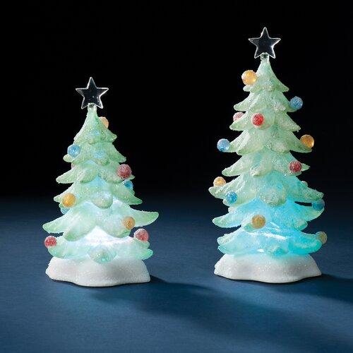 2 Piece Saint LED Tree Sugared Figurine Set