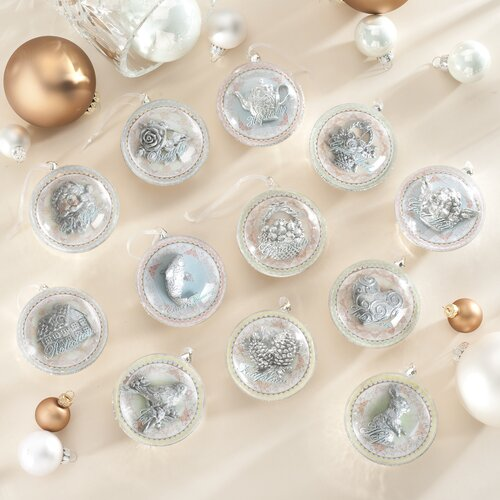 Roman, Inc. 12 Piece Glass Wedding Ornament Set