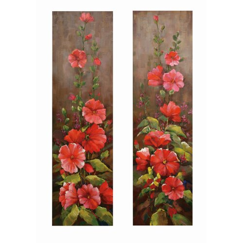 Bassett Mirror Climbing Floral 2 Piece Original Painting on Canvas Set
