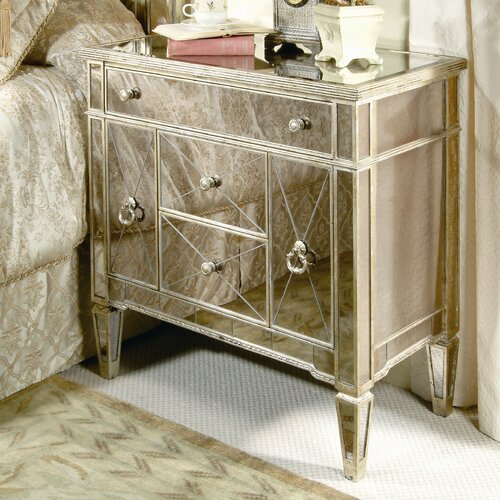 Bassett Mirror Borghese Mirrored 3 Drawer Chairside Chest