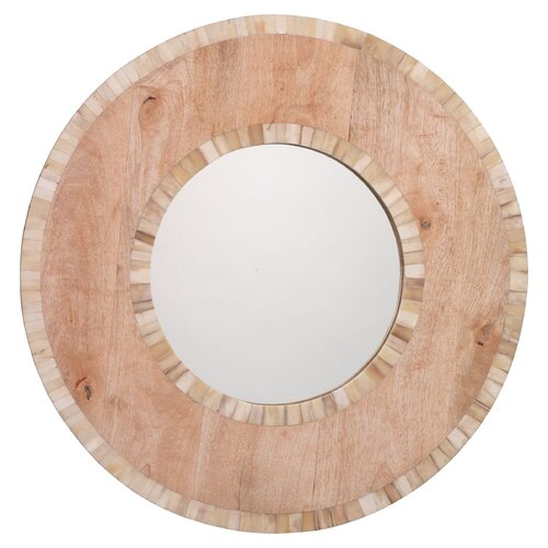 White Bone and Natural Wood Mandalay Round Mirror