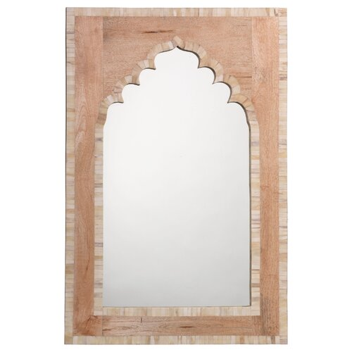 White Bone and Natural Wood Small Taj Mirror