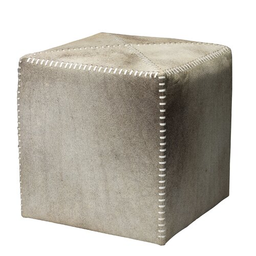 Cross Stitch Leather Cube Ottoman