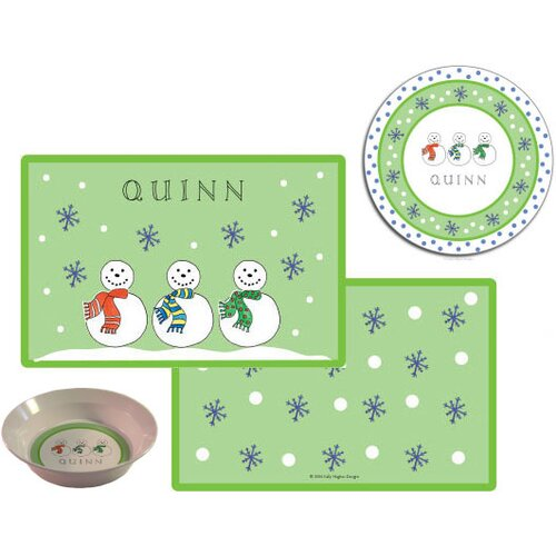 Kids Tabletop Jolly Snowmen Plate and Placemat Set