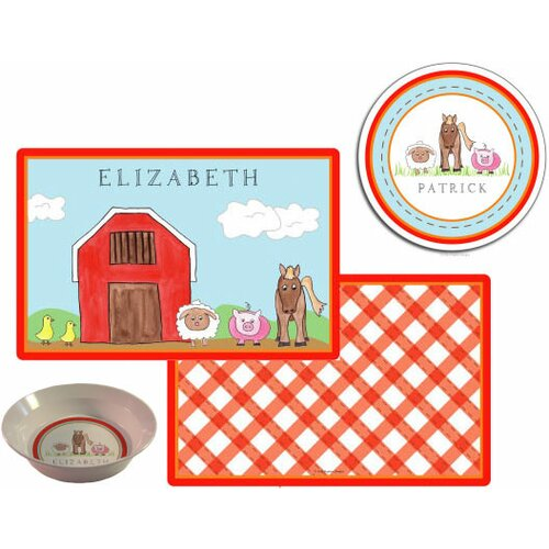 Kids Tabletop Down on The Farm Plate and Placemat Set