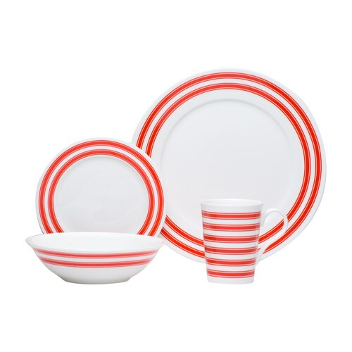 Pure Vanilla Race Stripe 16 Piece Dinnerware Set