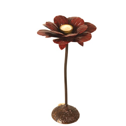 Wilco Flower Metal Candlestick