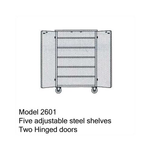 Virco 2600 Series Mobile Cabinet with Five Adjustable Shelves