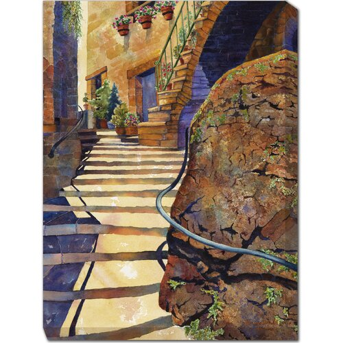 West of the Wind Outdoor Canvas Art Stairs of Stroncone Painting Print on Canvas