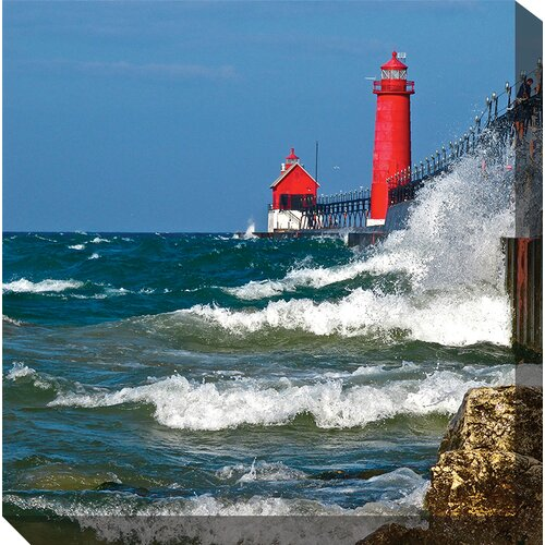 West of the Wind Outdoor Canvas Art Red Lighthouse Photographic Print on Canvas