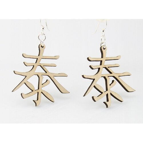Green Tree Jewelry Kanji - Peace Earrings