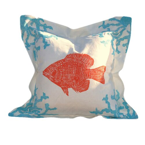 Lowcountry Linens Coral and Fish Pillow