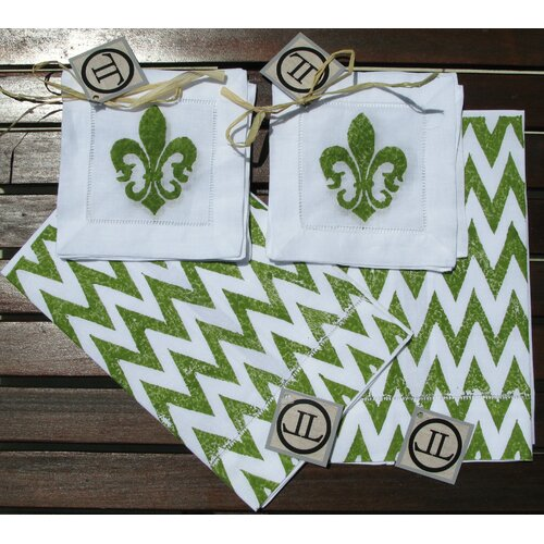 Lowcountry Linens Chevron Guest Towel with Fleur De Lis Cocktail Napkin Set