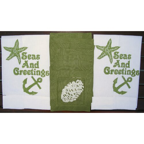 Lowcountry Linens Seas and Greetings Guest Towel and Pine Cone Cocktail Napkin Set
