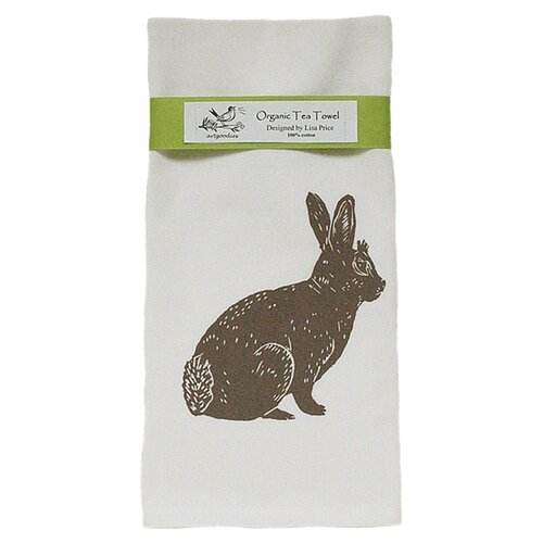 Organic Bunny Block Print Tea Towel