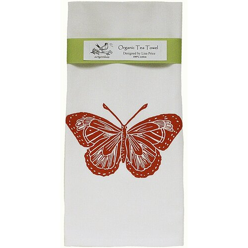Organic Butterfly Block Print Tea Towel