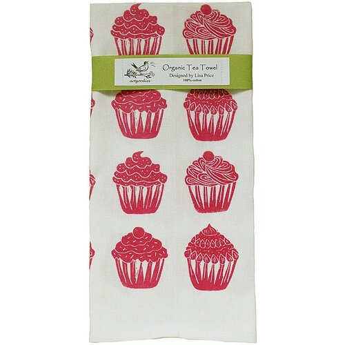 Organic Cupcake All Over Pattern Block Print Tea Towel
