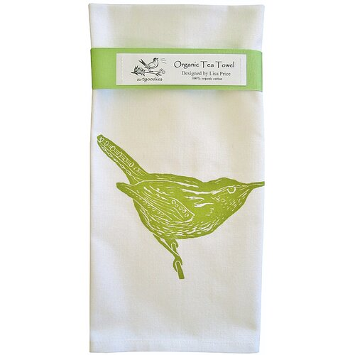 Organic Wren Block Print Tea Towel