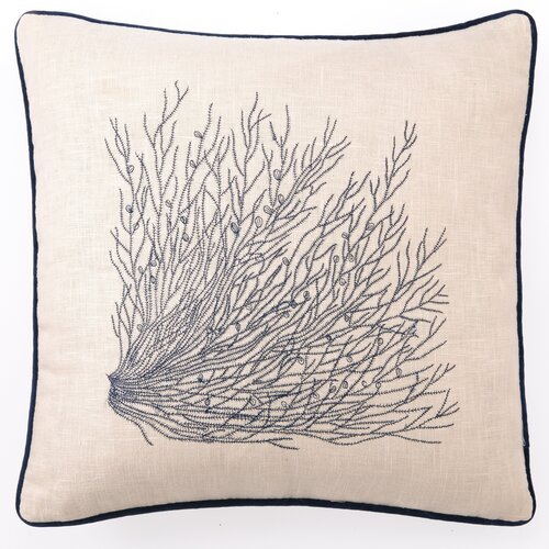 Sea Grass Down Filled Embroidered Linen Pillow