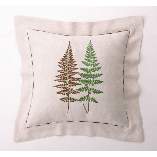 Fern Leaves III Down Filled Embroidered Linen Pillow