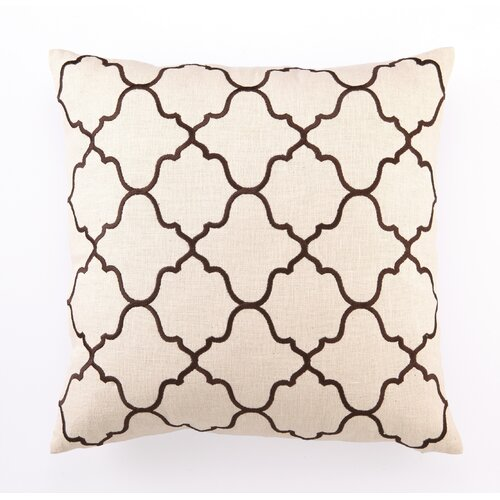D.L. Rhein Moroccan Tile Down Filled Embroidered Linen Pillow