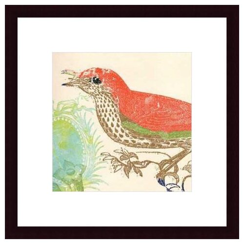 Barewalls 'Red Bird' by Swan Papel Framed Painting Print