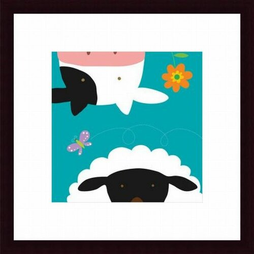 Barewalls Farm Group Cow and Sheep by Yuko Lau Framed Art