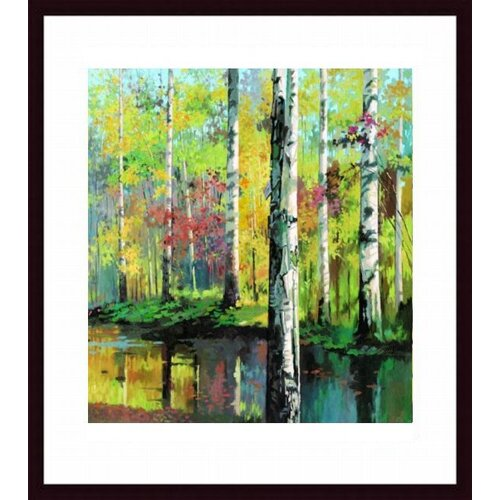 Barewalls Creekside II by Jie Zhou Framed Painting Print