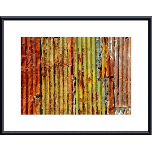 Barewalls Corrugated Metal Abstract by John K. Nakata Framed Photographic Print