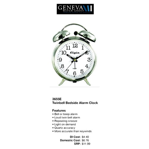 Geneva Clock Elgin Quartz Analog Metal Twin Bell Alarm Clock