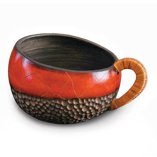 New Rustics Home Wicker Handled Red Bowl