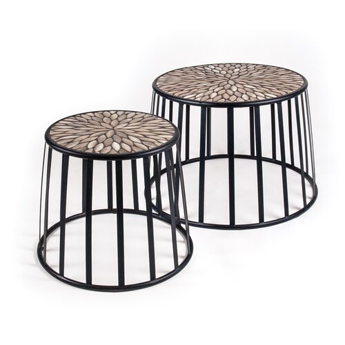 New Rustics Home Mosaic 2 Piece Nesting Tables