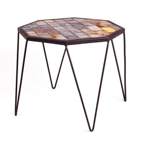 New Rustics Home Mosaic Slate Hex End Table
