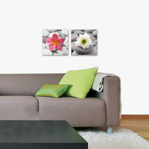 Deco Glass Beautiful Flower 2 Piece Photographic Print Set