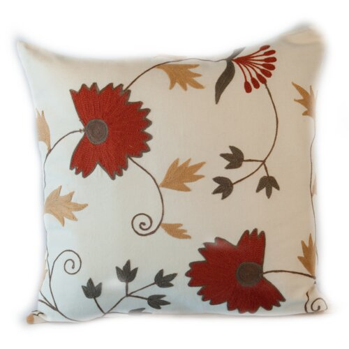 Rennie & Rose Design Group Manor Crewel Cotton Indienne Pillow