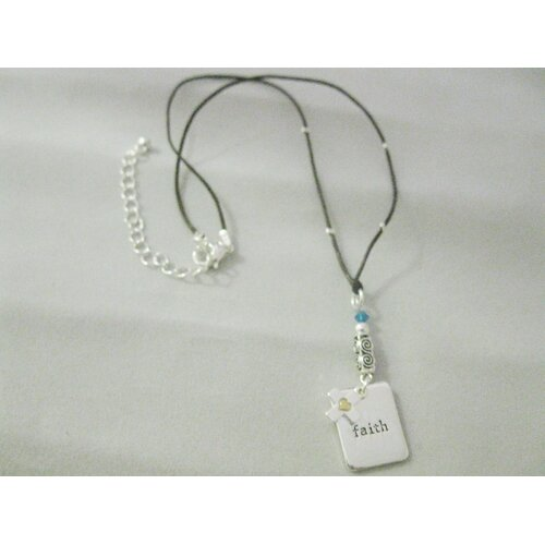 Chrisha Inspirational Cord Necklace With Antique Silver Tone Faith Charm