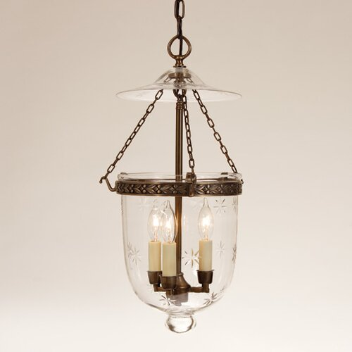 JVI Designs 3 Light Medium Bell Jar Foyer Pendant with Star Glass