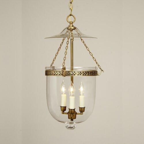 JVI Designs 3 Light Large Bell Jar Foyer Pendant