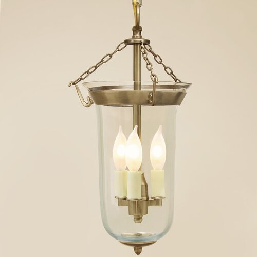 JVI Designs 3 Light Bell Jar Foyer Pendant With Flower Glass Reviews