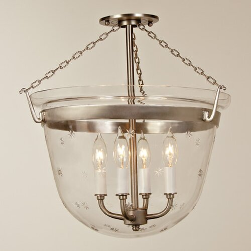JVI Designs Large Bell 4 Light Foyer Pendant with Star Glass