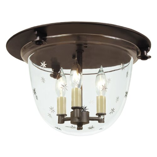 JVI Designs 3 Light Bell Flush Mount with Star Glass