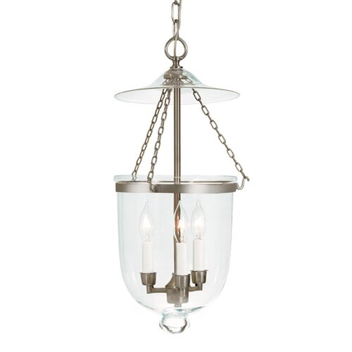 JVI Designs 3 Light Medium Bell Jar Foyer Pendant