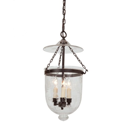 3 Light Bell Jar Foyer Pendant with Flower Glass