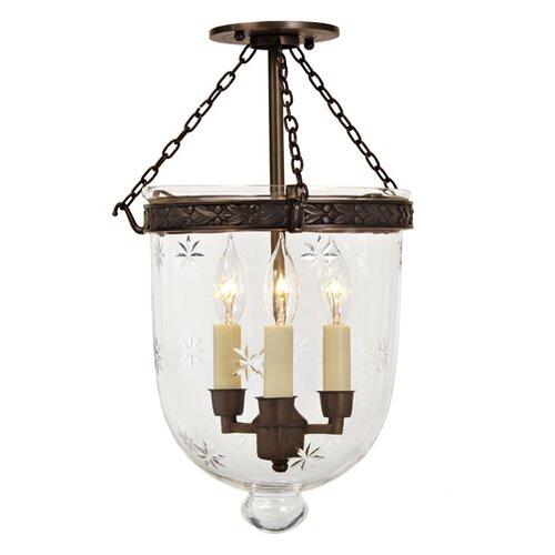 JVI Designs 3 Light Medium Bell Jar Foyer Pendant with Star Glass